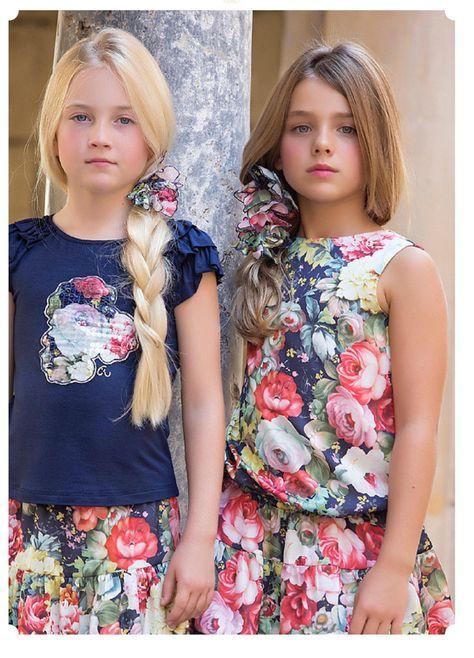 Vestido Estampado Flores en satén y viscosa Artesanía Amaya 76428