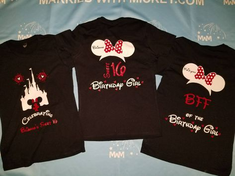 1a5e05c033e Birthday Shirts for Friends and Family Members, Birthday Girl (Boy) Sweet  16, Minnie Mouse Head With Polka Dots Bow, Mom of the Birthday Girl, Bestie  of the ...