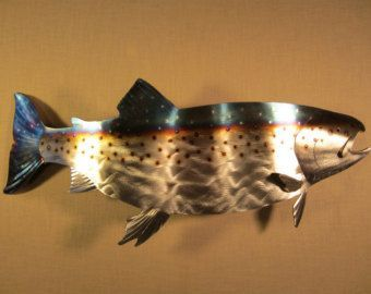 Trout Metal Wall Art Stream River Current Alaska Oregon Metal Wall Art Steel Home Decor Art Metal Wall Art Metal Art