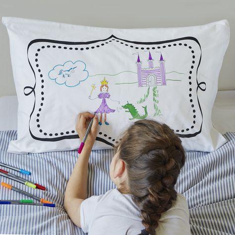 doodle customisable cotton pillowcase