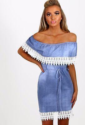 New Womens Denim Off Shoulder Frill Ladies Bardot Crochet Lace Trim Mini Dress