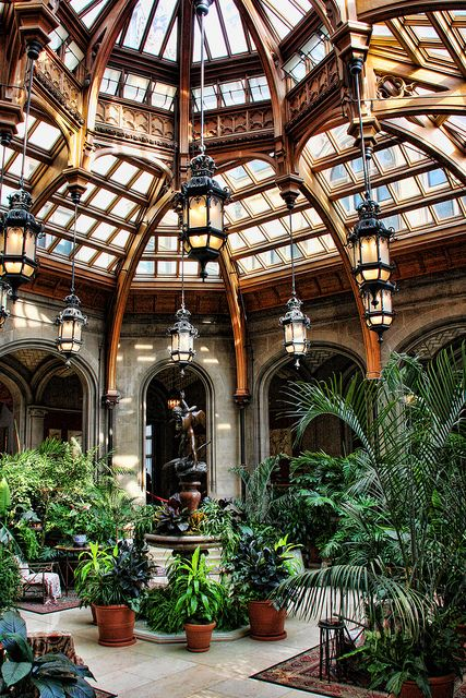 This is an atrium in the Biltmore Mansion in North Carolina. The tour of the house is amazing but this was one of my favorite architectural features. I want one (on a smaller scale) in any future house that I build. Perfect entertaining space