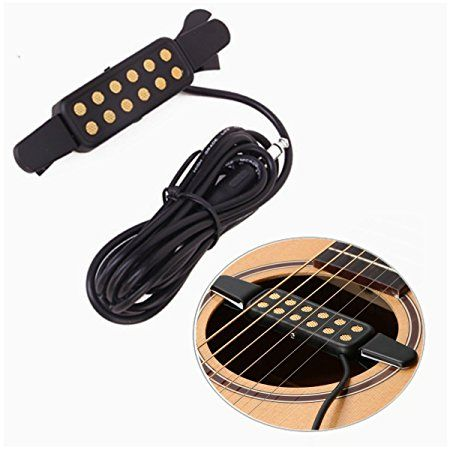 Luvay Guitar Pickup Acoustic Electric Transducer For Acoustic Guitar Cable Length 10 Gold Acoustic Electric Acoustic Guitar Pickups Guitar Pickups