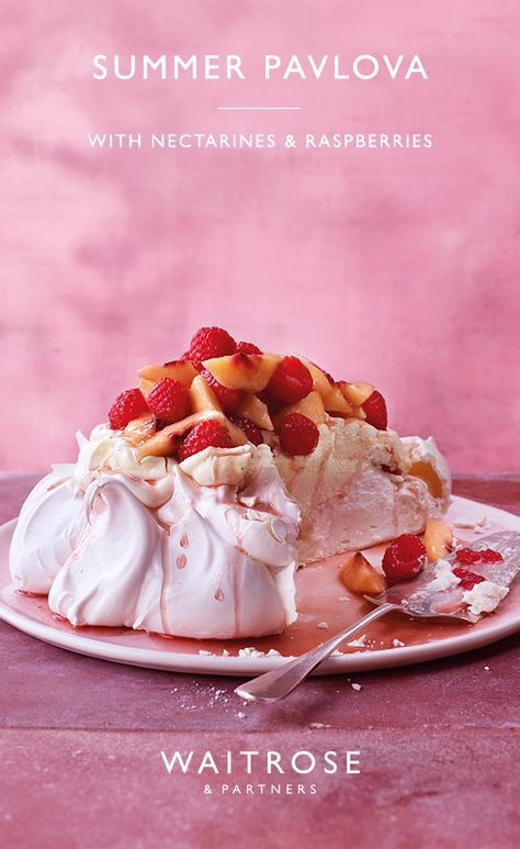 A classic summer pavlova piled with a mountain of cream, rosé-soaked nectarines and fresh raspberries. Try this summer recipe and more, all available on the Waitrose  Partners website.