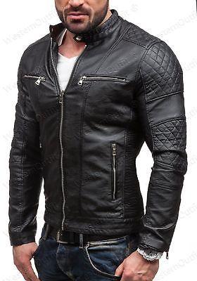 34 Men Leather Jacket Black Slim Fit Biker Motorcycle Lamskin Jacket