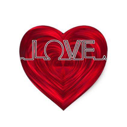 Love Red Heart Beat Ekg Wave Vector V2 Heart Sticker Zazzle Com In 2021 Heart Stickers Print Stickers Heart Decals