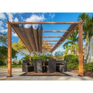 Paragon Outdoor Paragon 11 Ft X 16 Ft Aluminum Pergola With The Look Of Canadian Wood And Cocoa Canopy Pr16wd1c The Home Depot Outdoor Pergola Aluminum Pergola Pergola Patio