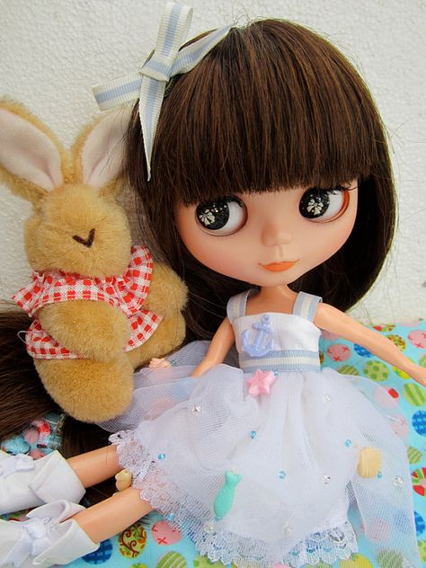 Blythe brown rabbit bunny country folk dress vintage doll clothes