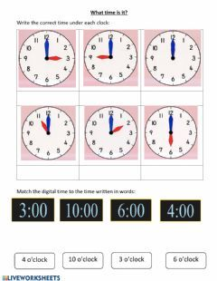 Time O Clock Language English Level Group Grade 1 School Subject Math Main Content Telling The T In 2020 Clock Worksheets Time Worksheets Telling Time Worksheets