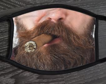 Cigar Smoker Face Mask With Filter Classy Man Washable And Reusable 100 Cotton Face Mask Designer Print Fashion Mask Smokers Face Long Beards Beard Shapes