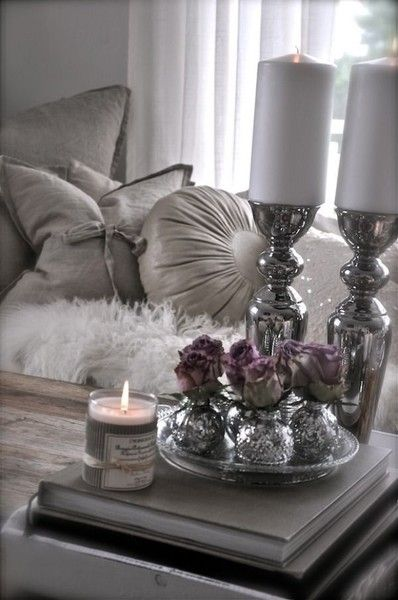 Silver Candle Scheme Idea  - DIY Candle Decor Ideas  - Photos