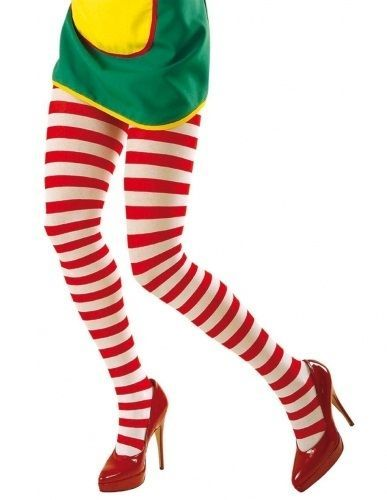 Ladies Striped Red /& Green Red /& White Tights Stocking Christmas Fancy Accessory