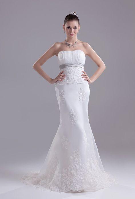 327d8426c231c Elegant Mermaid Strapless Beaded White Lace Silver Belt Wedding Dress  Bridal Gown