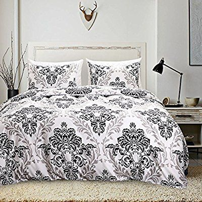 Amazon Com Moreover 3 Pieces White Baroque Duvet Cover Set Black And White Bedding Pastoral Style Floral Duvet Cover Sets Queen Bedding Sets Black Duvet Cover