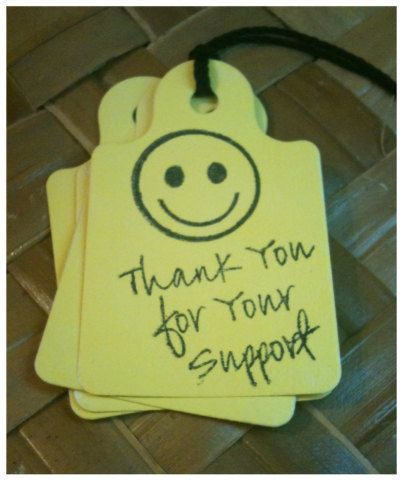 Smiley Face Bake Sale Fundraiser Thank You Tags 25pc Handmade - fund raiser thank you letter