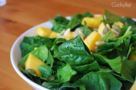 Ensalada De Espinacas Y Mango Con Salmon Espinacas Ensalada De Espinacas Ensaladas