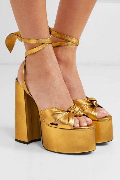 Saint Laurent PAIGE Platform Sandals In Suede |