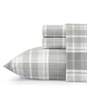 Laura Ashley Core Mulholland Plaid Medium Grey Twin Flannel Sheet