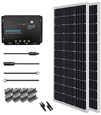 Amazon Com Renogy 200 Watt 12 Volt Monocrystalline Solar Starter Kit With Wanderer Garden Outdoor Solar Panels Portable Solar Panels Solar Kit