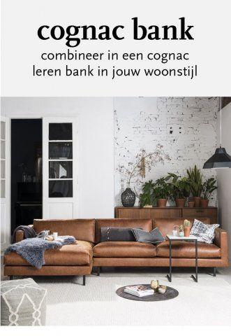 Cognac Leren Hoekbank.Cognac Leren Bank In 3 Woonstijlen Banken In 2019 Bank Cognac