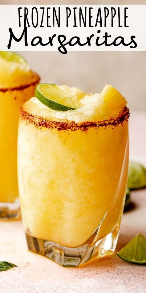 This frozen pineapple margarita is the perfect frozen drink for a warm afternoon! its tropical and sweet with a kick from the spicy chili salt rim margaritas pineapple cocktails cincodemayo soft and chewy sourdough burger buns Pineapple Margarita, Frozen Pineapple, Pineapple Recipes, Pineapple Rum, Pineapple Cocktail, Mixed Drinks With Tequila, Pineapple Alcohol Drinks, Slushy Alcohol Drinks, Wine Mixed Drinks