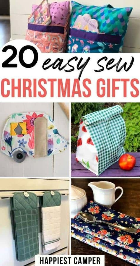 20 Easy Sew Christmas gifts you can make. These are amazing and so adorable! Simple sewing projects that you can give as Christmas gifts. I love that all of them have complete sewing tutorials with pi Sewing Hacks, Sewing Tutorials, Sewing Crafts, Sewing Tips, Diy Gifts Sewing, Sewing Art, Sewing Basics, Christmas Gift You Can Make, Diy Christmas Gifts