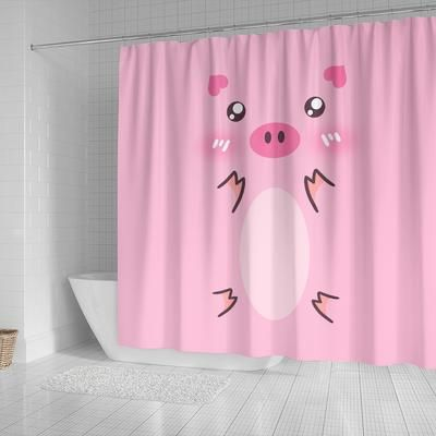 Cute Pig Costume Shower Curtain For Christmas Halloween Pig