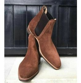 Men's Square Toe Suede Chelsea Boots