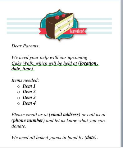 Cake Walk donation request letter to parents from the PTO Today File