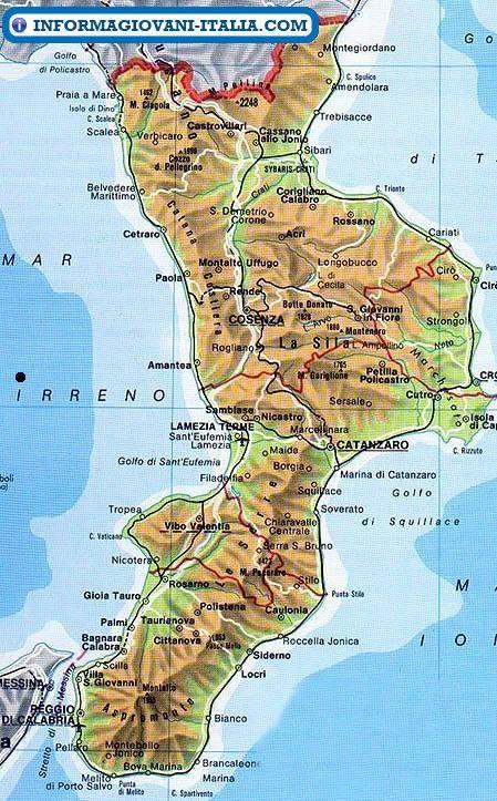 Cartina Calabria E Puglia.Mappa Della Calabria Cartina Della Calabria Calabria