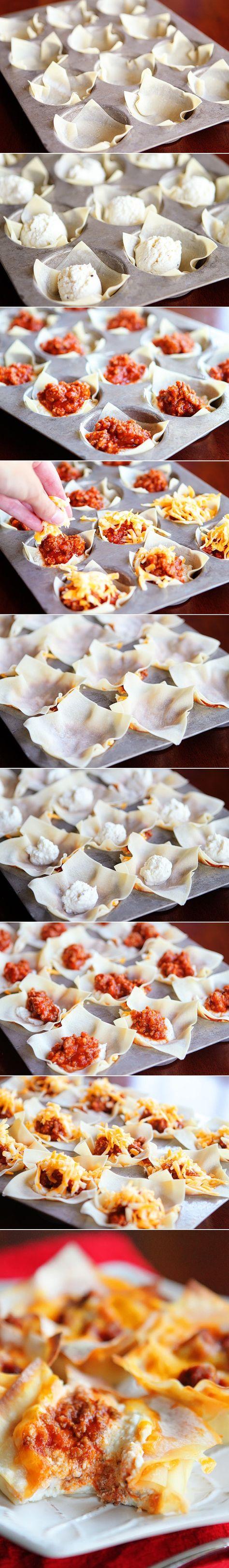 Mini Lasagna Cups- use Italian sausage, part-skim mozzarella, fresh parm, & fresh basil instead http://www.kevinandamanda.com/recipes/dinner/mini-lasagna-cups.html#_a5y_p=1014670