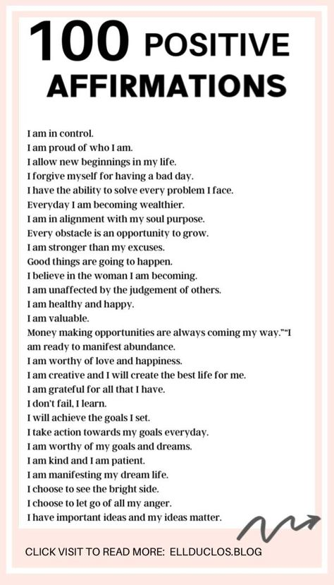 When you practice positive affirmations daily, your mindset begins to shift and the ability to attract and manifest what you desire becomes possible. When you repeat affirmations to yourself regularly, your mind begins to believe the words you say which can lead to positive changes. Here are 100 positive affirmations that will change your life.