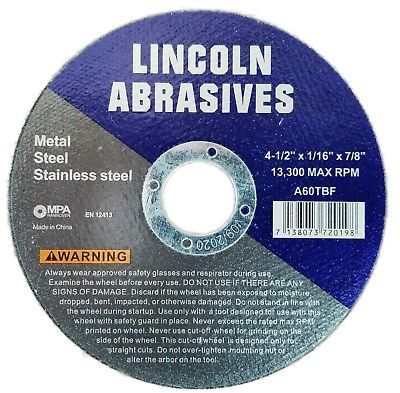"""100 Pack 4-1//2/"""" x 1//16/"""" x 7//8/"""" Cut-Off Wheels Metal Stainless Steel Cutting Disc"""