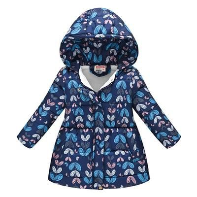 Toddler Boys Girls Hooded Windproof Coat,Winter Long Sleeve Floral Print Thick Warm Stylish Snowsuit Outwear Jacket