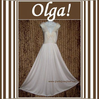 PEARL OLGA Nightgown GORGEOUS Vintage Gown LACY Long RARE STYLE 9293 FLOOR LENGTH SWEEP Fits M-L-XL @gurlz.ecrater.com