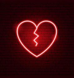 Broken Heart Neon Sign Vector Broken Heart Wallpaper Broken Heart Pictures Broken Heart