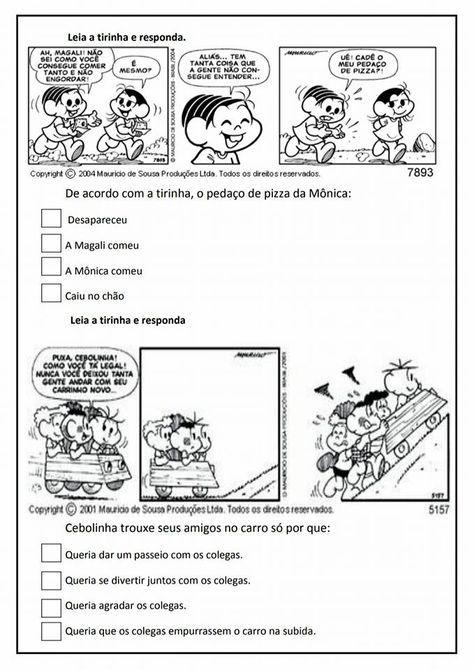 Leitura E Interpretacao De Tirinhas Portuguese Lessons