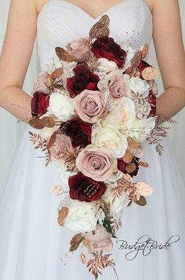 Rose Gold And Wine Wedding Flower Cascading Brides Bouquet Rose
