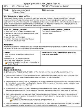 Visual Arts Lesson Plan Template More With Images Lesson Plan