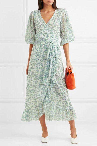 Ganni Tilden Floral Print Mesh Wrap Dress Net A Porter Com Wrap Dress Floral Dresses Uk Best Summer Dresses