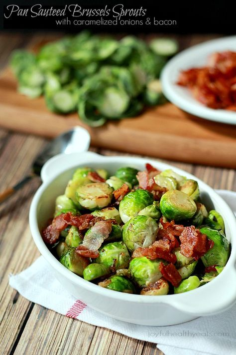Pan Sauteed Brussels Sprouts with sweet Caramelized Onions and salty crispy Bacon - seriously amazing! Will make any sprouts hater a lover! | joyfulhealthyeats.com #paleo #glutenfree