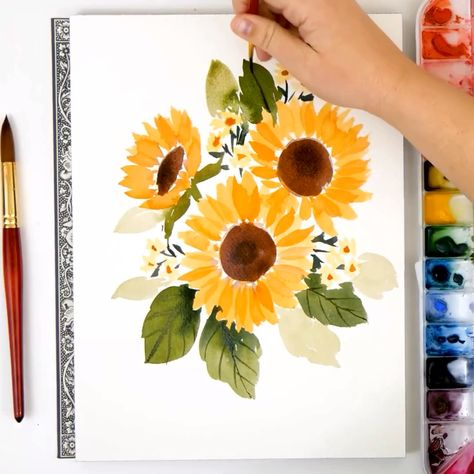 Learn how to paint loose watercolor flowers with the Snowberry Design Co YouTube Channel! These easy to follow, step by step tutorials are perfect for beginners and seasoned artists alike. These sunflowers are so happy and beautiful!