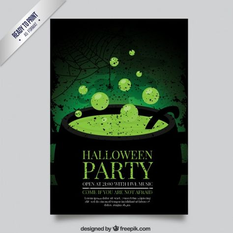 Affiche Halloween Avec La Sorcière Chaudron Halloween