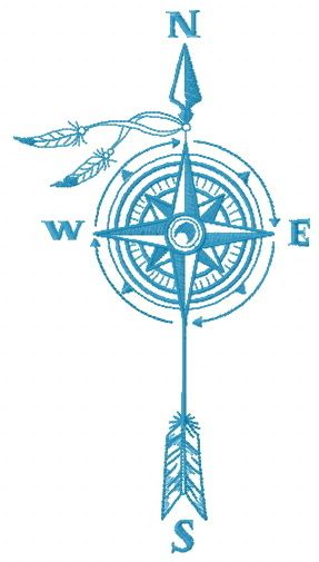 Compass and wind machine embroidery design #blue #wind  #onecoloreddesign #North #arrow #Compass #east #west #south #feaher #embroiderydesign