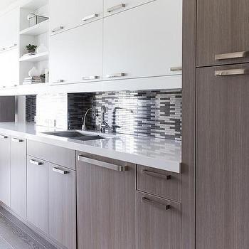 Oak Veneer Kitchen Cabinets With Silver