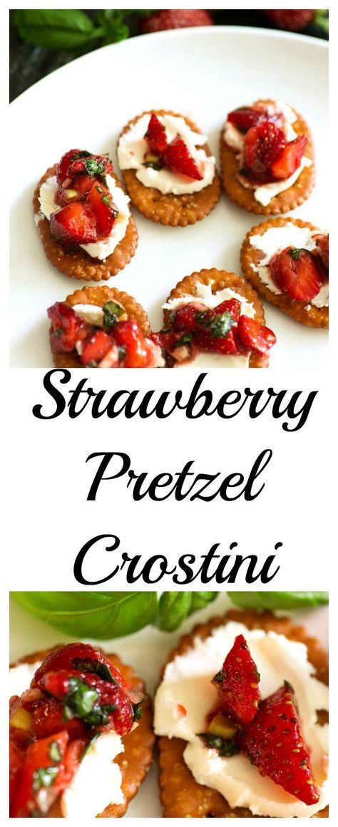 Strawberry Pretzel Crostini, made with fresh strawberries and crunchy pretzel crackers for a sweet salty treat.  butterandbaggage.com #recipe #strawberry #appetizer
