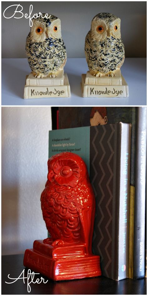 Spray paint vintage bookends for a quick and cheap DIY update. These bright red owls are so cute! Fifty Two Weekends {...of DIY}: Revamped Owl Bookends