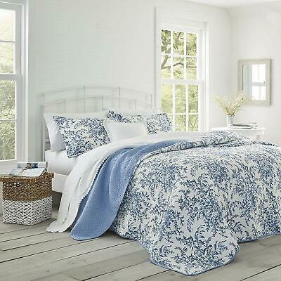Elegant Classic 100/% Cotton Top Blue Floral 3 pcs King Queen Quilt Coverlet Set