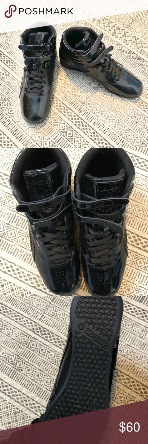 Women s Reebok Shiny Black High Top Sneakers Worn ONCE! These are for the  ladies who e87f0cd0f