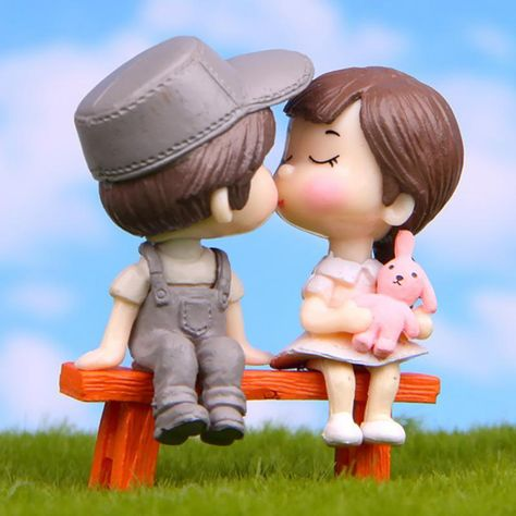 Miniature Couple Kissing Garden Figurines for Fairy Gardens, Terrariums, or any use you fancy!